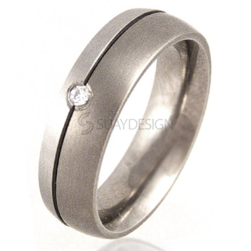 Women's Diamond Set Titanium & Platinum Ring