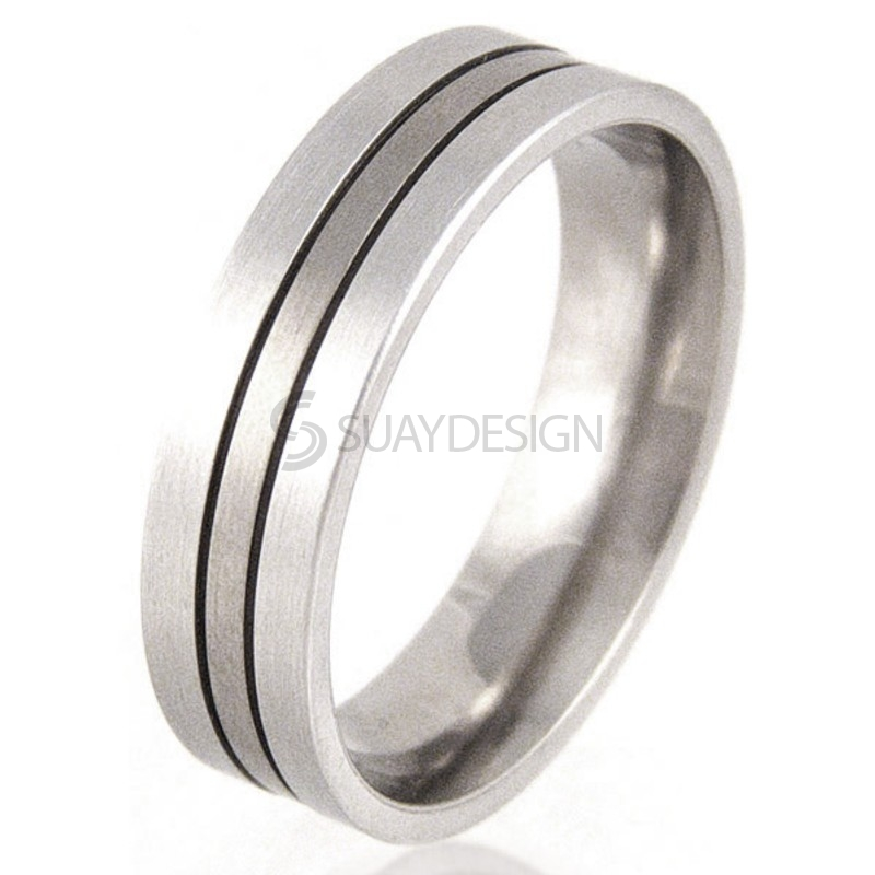 Women's Flat Titanium & Platinum Ring