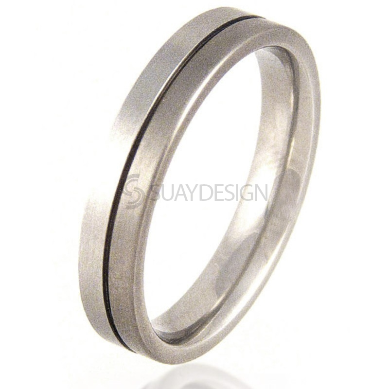 Women's Flat Titanium and Platinum Ring