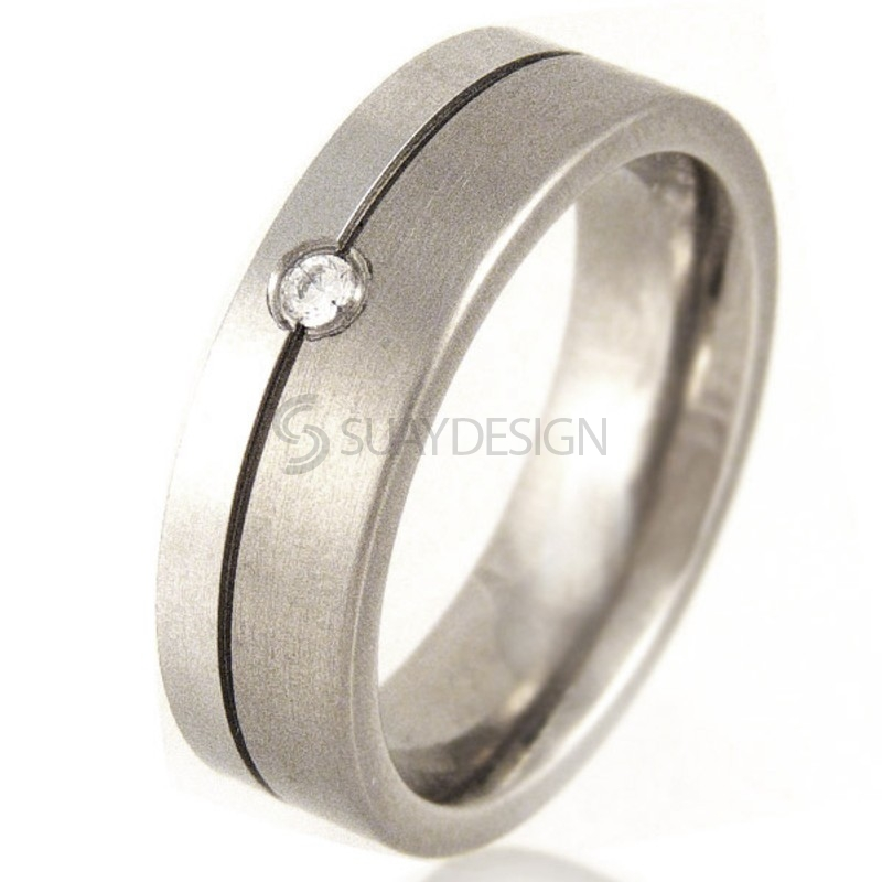 Women's Titanium & Platinum Diamond Ring