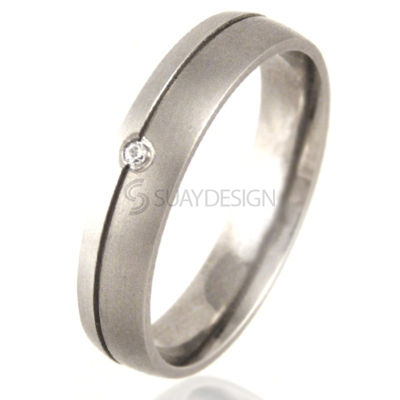 Court Shaped Titanium & Platinum Ring set with a Diamond