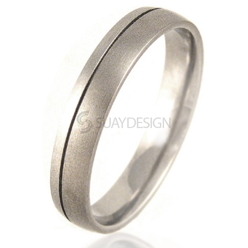 Women's Court Shaped Titanium & Platinum Ring