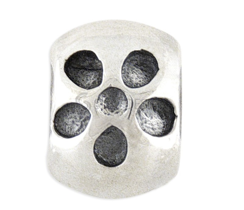 Women's Silver Flower Bead