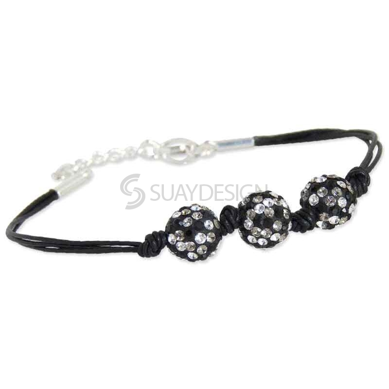 Women's Spangle Black Crystal Bracelet