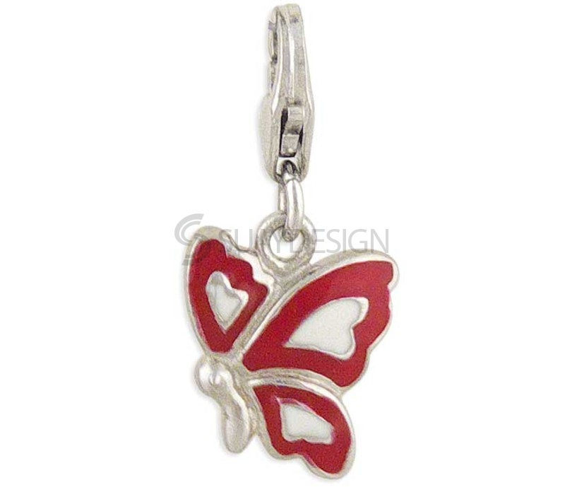 Women's Butterfly Silver Charm Red