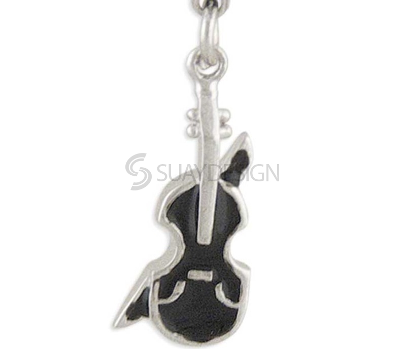 Women's Cello Silver Charm Black