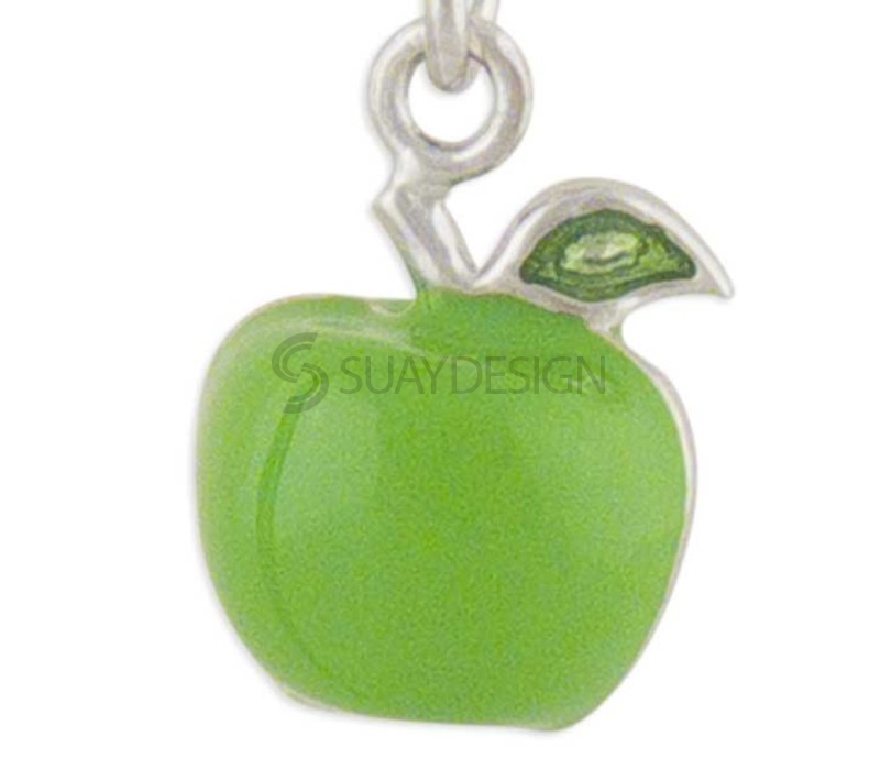 Women's Apple Silver Charm Green
