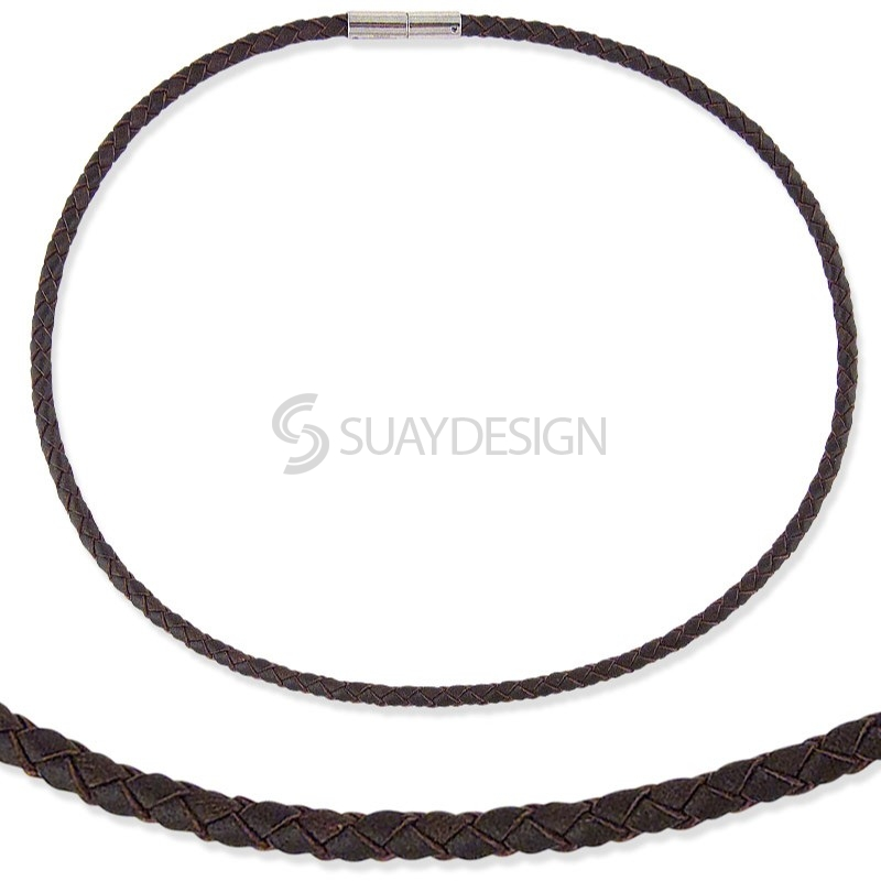 Woven Brown 4mm Leather Necklace