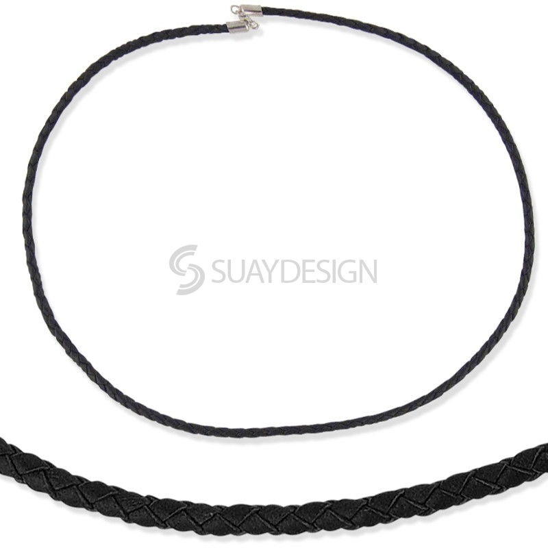 Women's Woven Black Leather & Silver Necklace