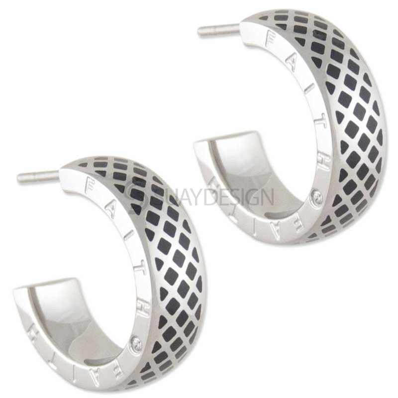 Women's Presence Black Steel Earrings