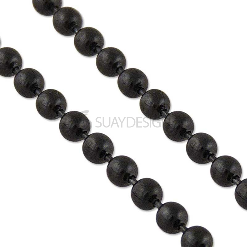 Women's Beaded Black Stainless Steel Chain