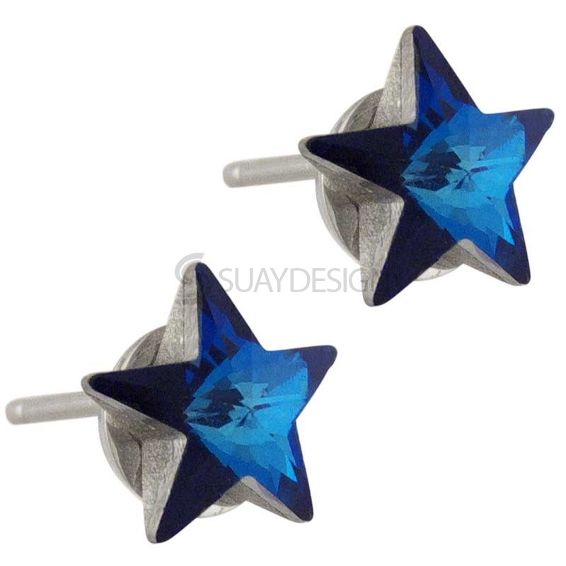 Women's Star Struck Aqua Swarovski Earrings