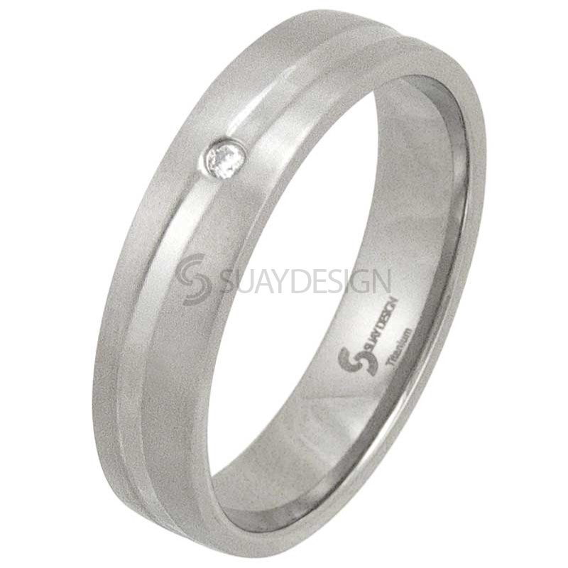 Swell Satin Diamond Titanium Ring