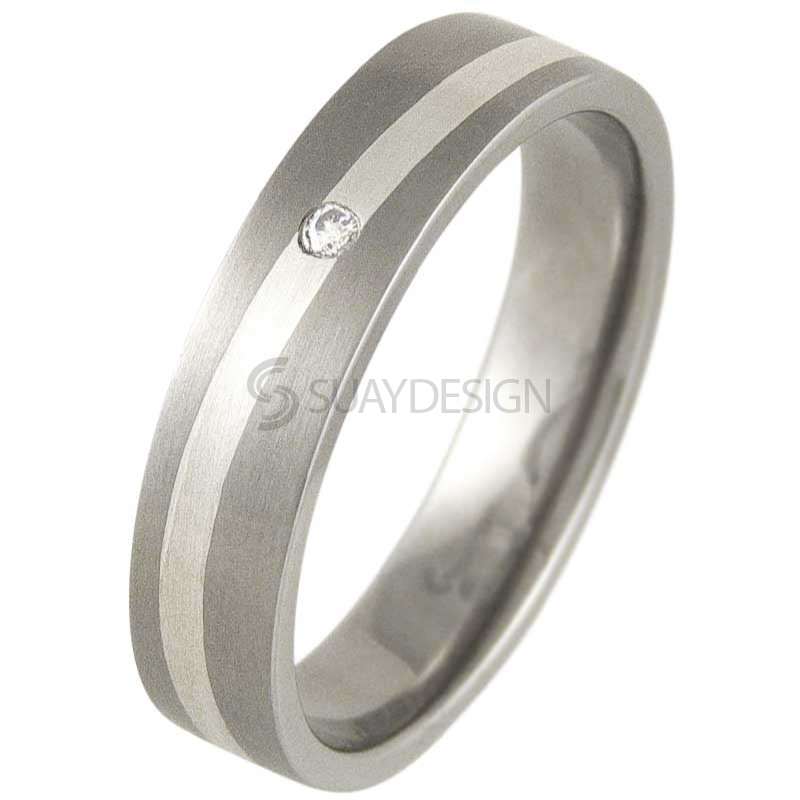 Women's Swell Silver & Titanium Satin Diamond Ring