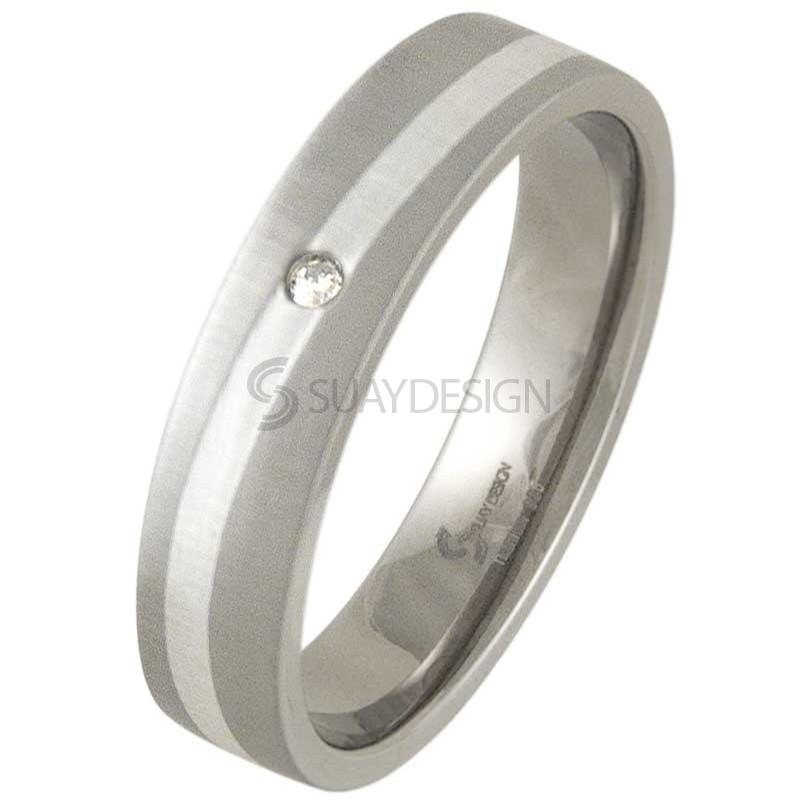 Women's Swell Brushed Titanium & Silver Diamond Ring