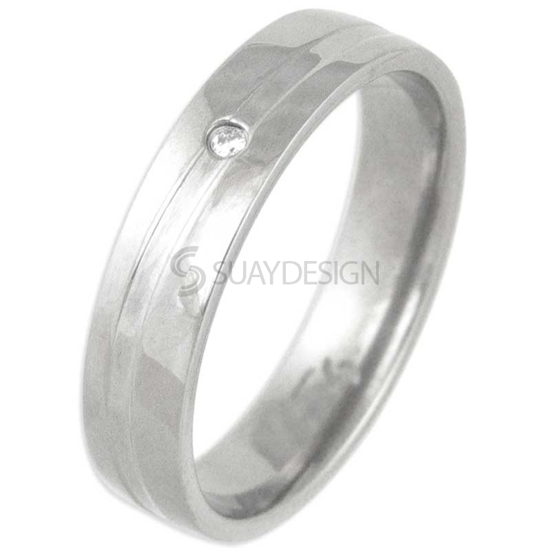 Swell Polished Titanium Diamond Ring