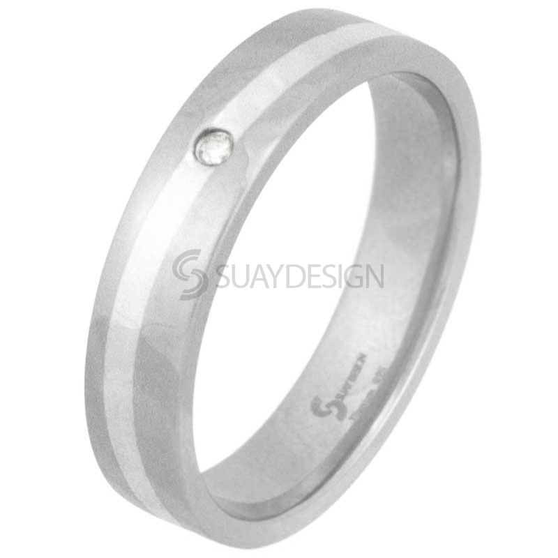 Women's Swell Titanium & Silver Diamond Ring