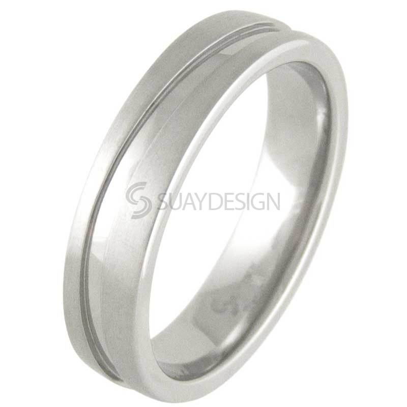 Women's Swell Satin Titanium Ring