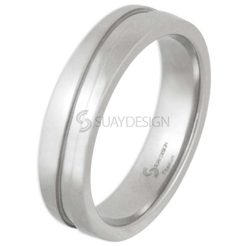 Women's Swell Polished Titanium Ring