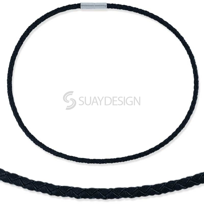 Woven Black Leather & Steel Necklace