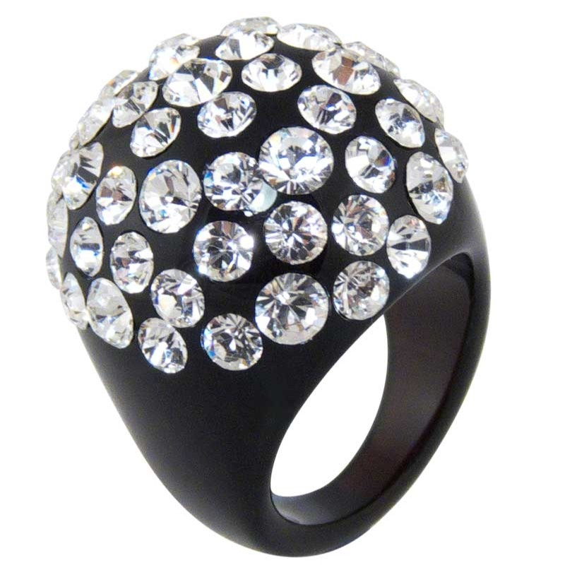 Women's Flash Black Acrylic Ring