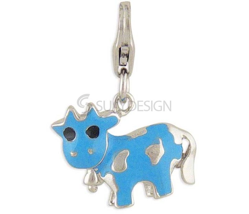 Women's Cow Silver Charm Blue