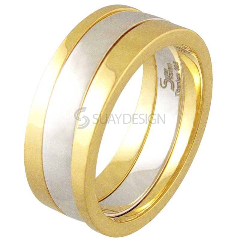 Women's Praise Gold Titanium Ring