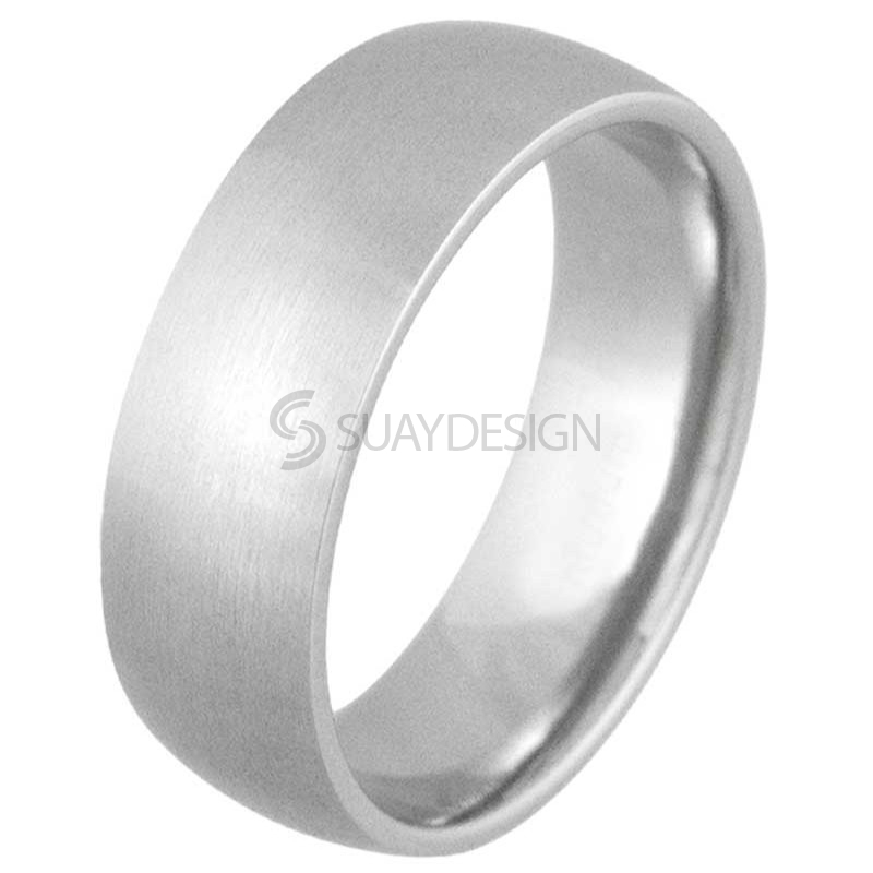 Women's Smooth 8mm Satin Steel Ring