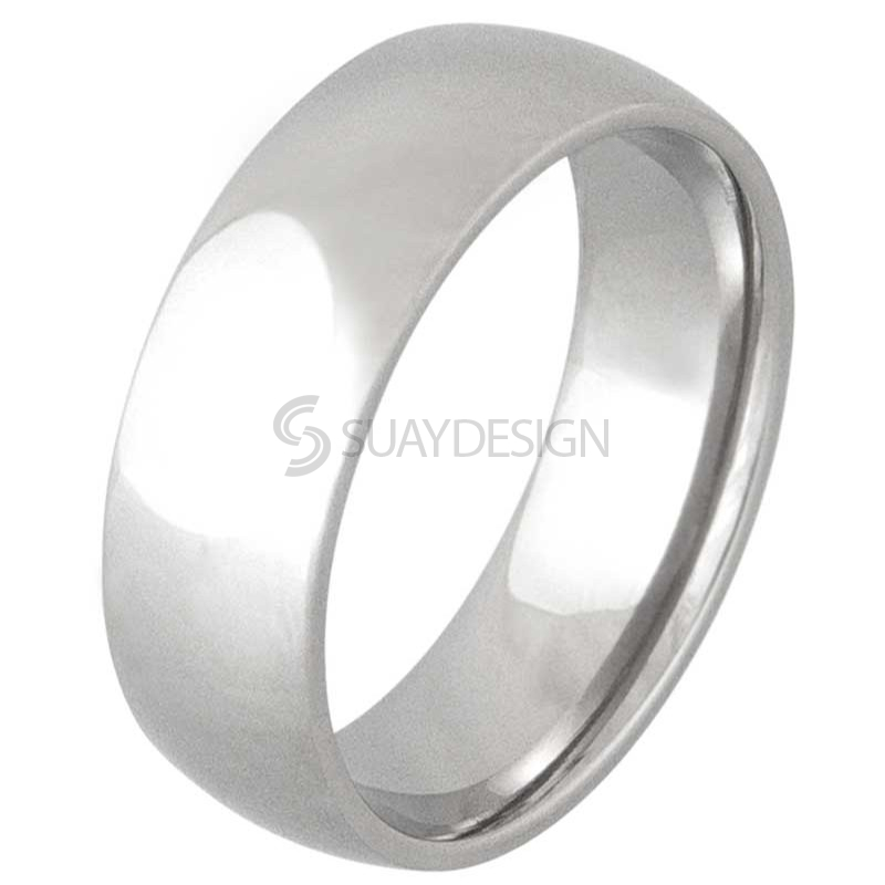 Women's Polished Smooth 8mm Steel Ring