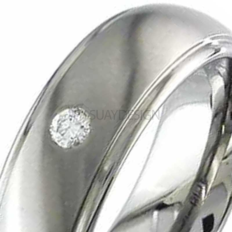 Alternative photo: Men's Diamond Set Titanium Wedding Ring