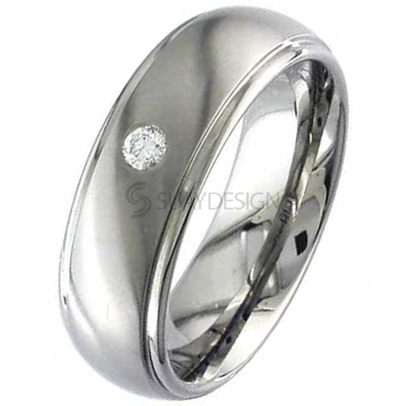 Diamond Set Titanium Wedding Ring