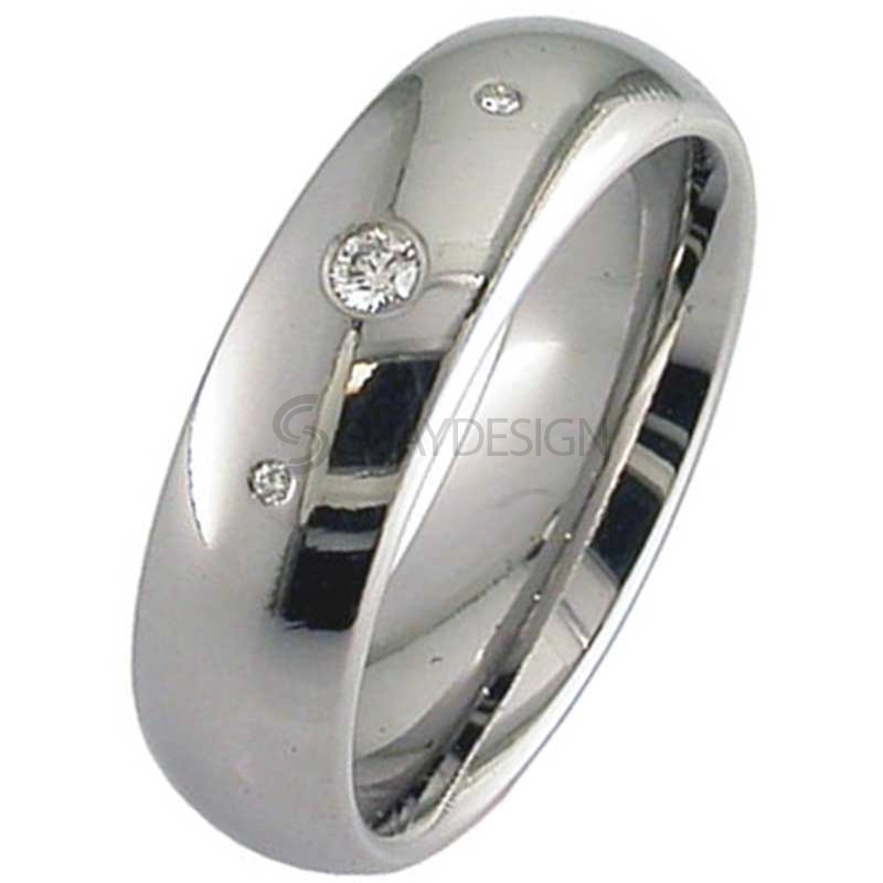 Diamond Set & Polished Titanium Ring