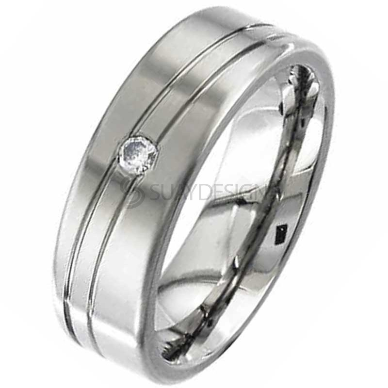 Women's Twin Groove & Diamond Set Titanium Ring
