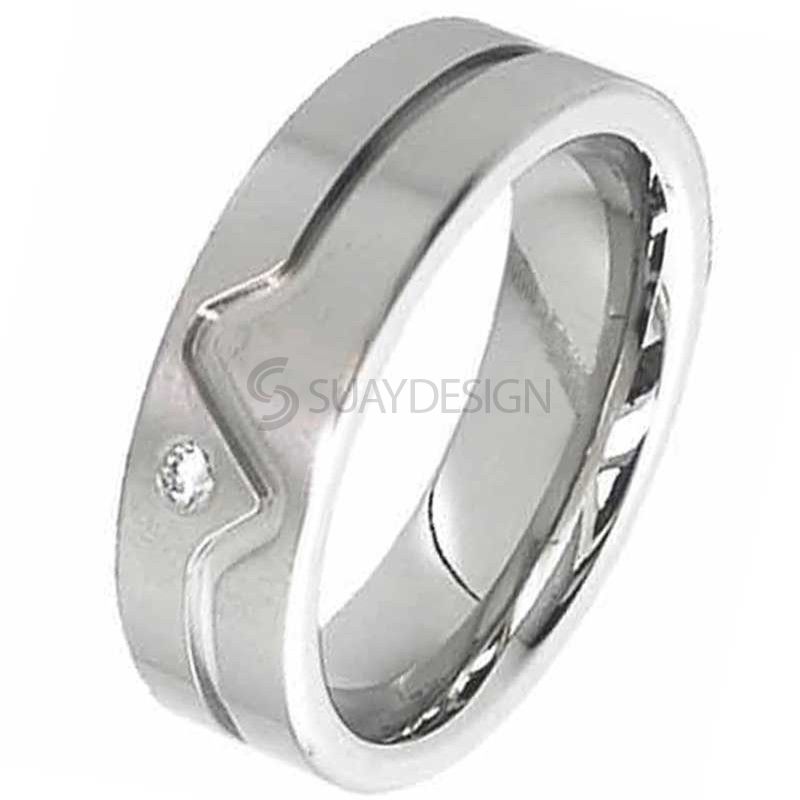 Diamond Titanium Ring 2247DS-3PNT