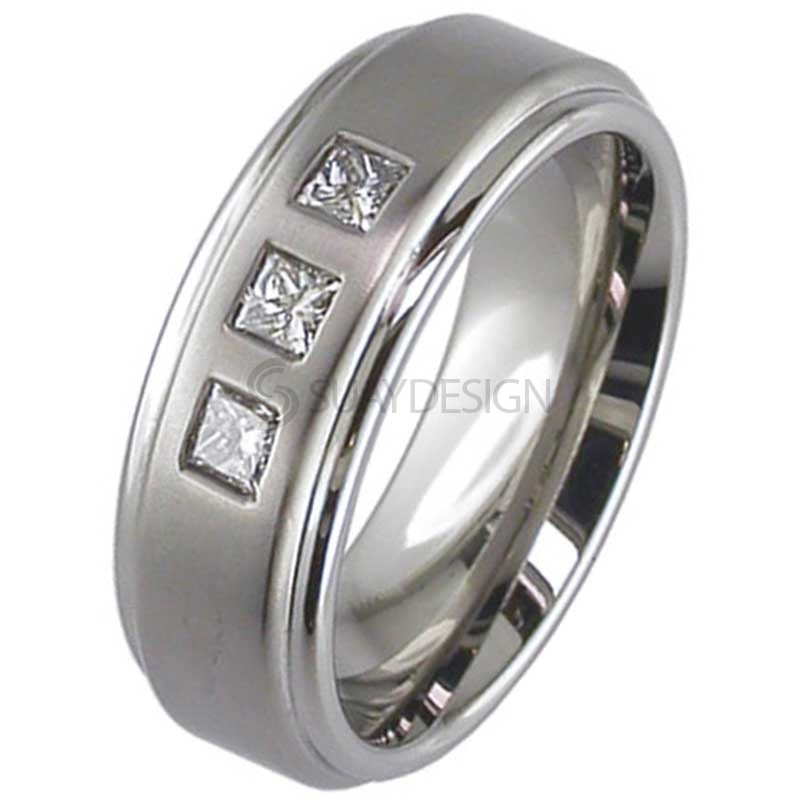 Women's Princess Cut Diamond Set Titanium Ring