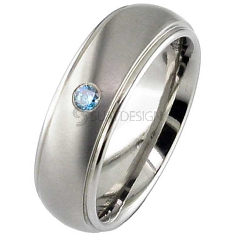 Blue Diamond Set Titanium Wedding Ring