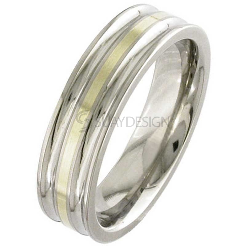 Gold Inlaid Titanium Ring 2209i-18KYELLOW