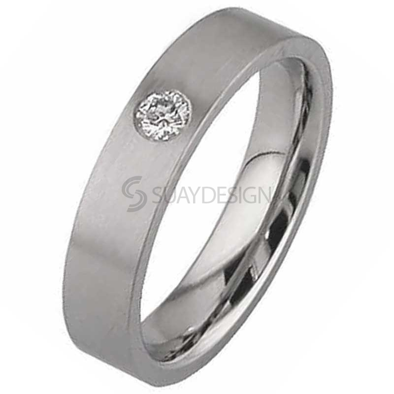 Women's Flat Diamond Set Titanium Wedding Ring