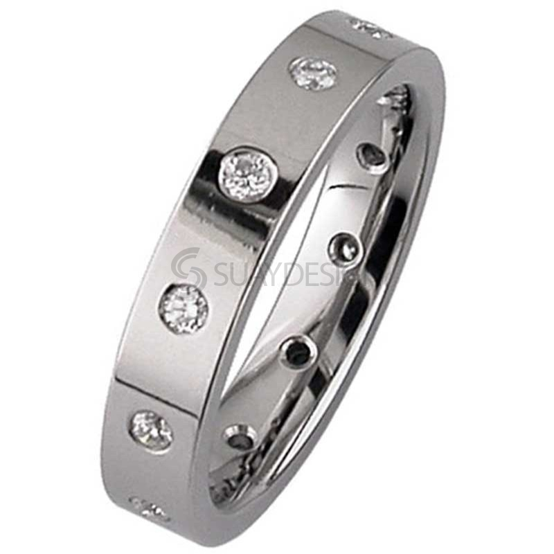 Polished Titanium Wedding Ring set with Twelve Diamonds