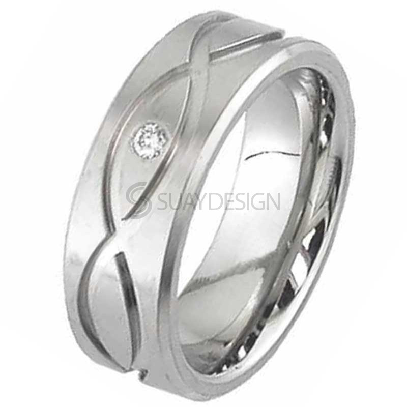 Diamond Titanium Ring 2293FXDS-3PNT