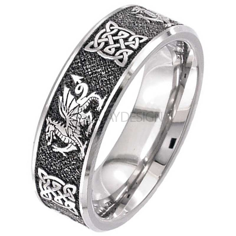 Women's Welsh Dragon Celtic Titanium Ring