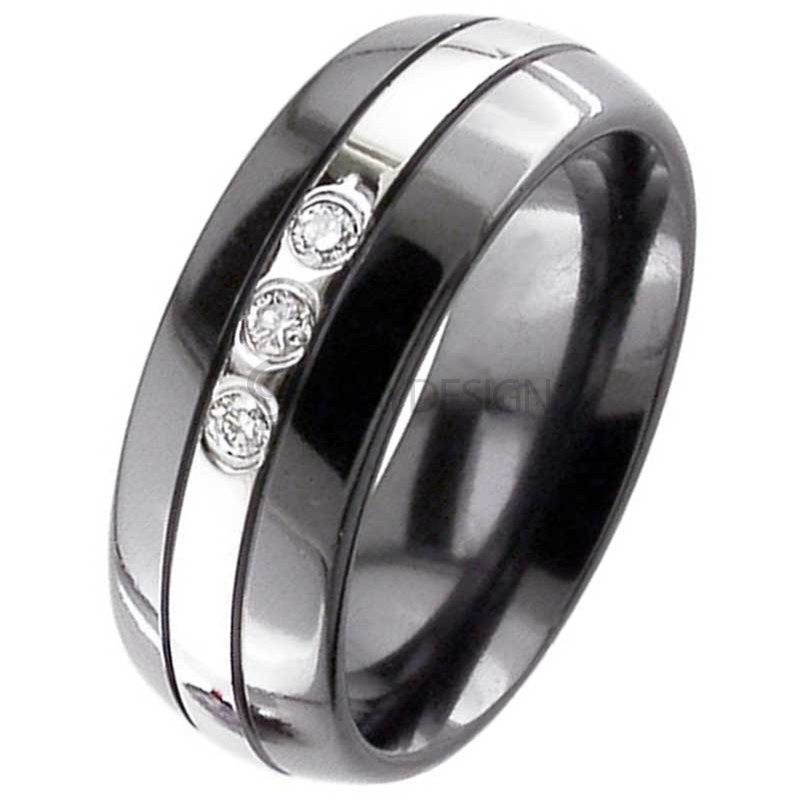 Diamond Set Zirconium Ring 4010GRBDS-3X3PNT