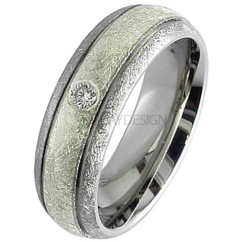 Diamond Set Titanium Ring with a White Gold Inlay