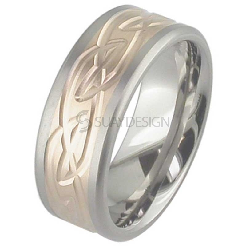 Women's Rose Gold & Titanium Celtic Ring T121-18KRED