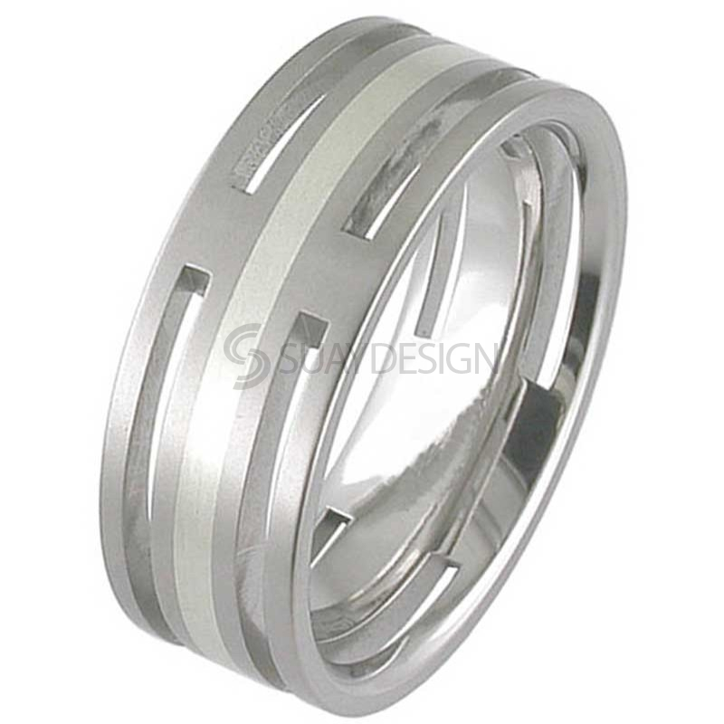 White Gold & Titanium Ring T128i-1.5MM9W