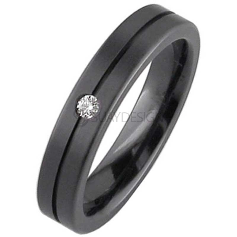 Alternative photo: Men's Zirconium Ring Z122BDS