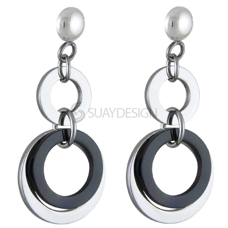 Women's Fascinate Black Steel Earrings