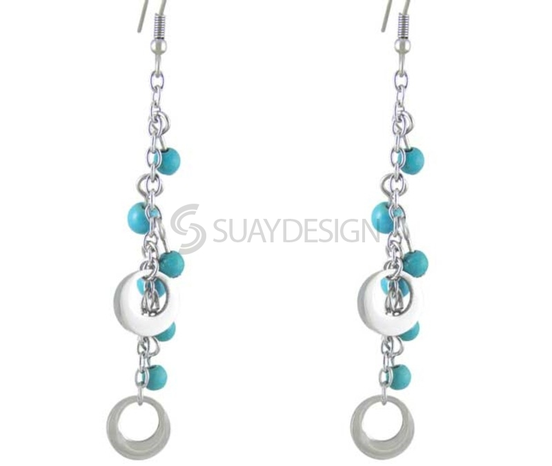 Women's Soul Turquoise Steel Earrings