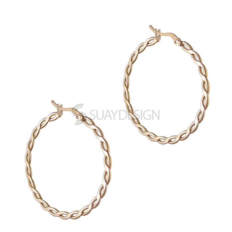 Women's Braided Rose Hoops 30mm