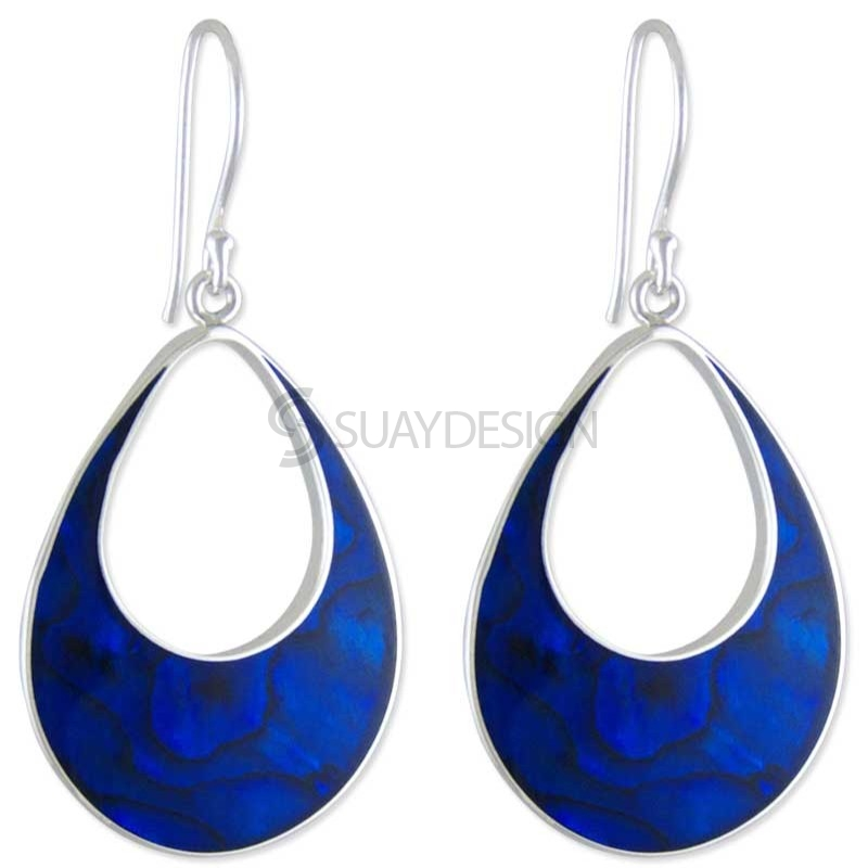 Women's Teardrop Aqua Silver Earrings